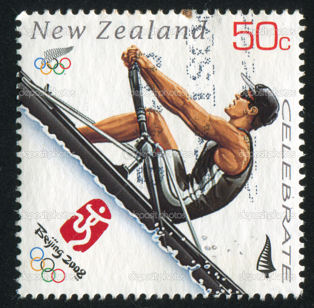 NEW ZEALAND - CIRCA 2008: stamp printed by New Zealand, shows Rower at Sommer Olympics in Beijing, circa 2008 — Stock Photo #9953507