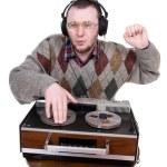 Nerd enjoying music — Stock Photo #9647132