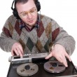 Nerd enjoying music — Foto Stock