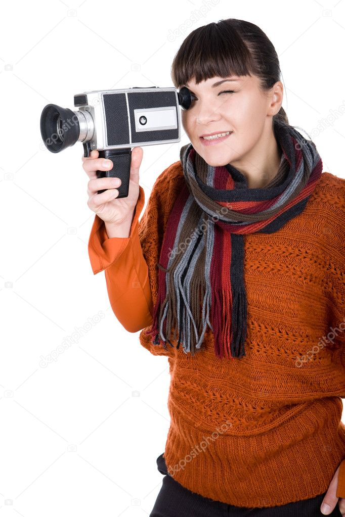 Young adult woman with retro camera. over white background — Stock Photo #9647077