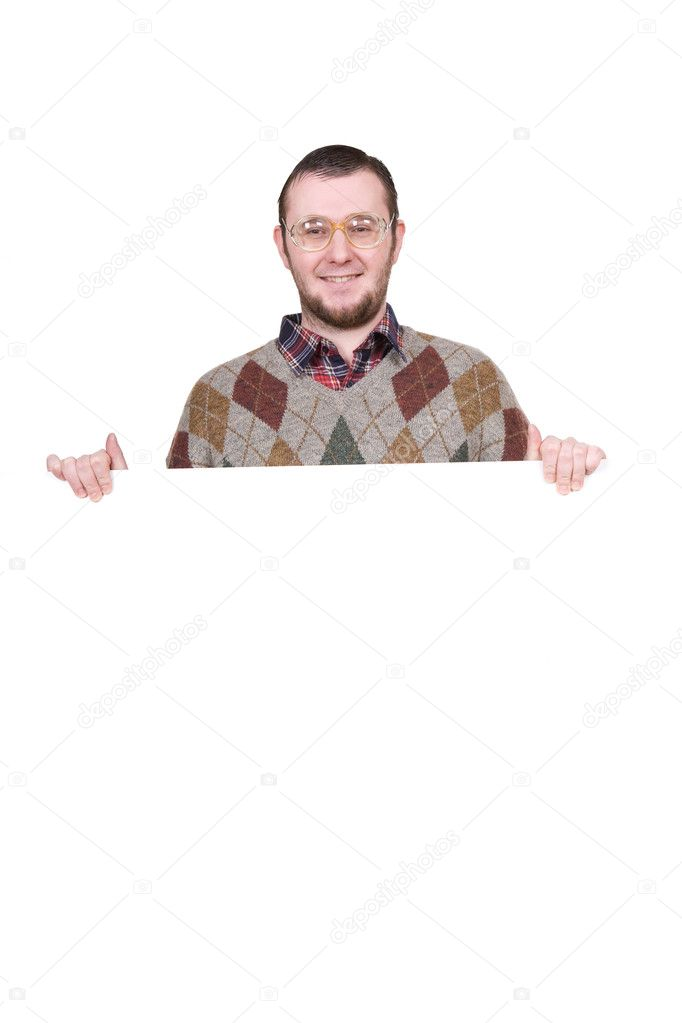 Nerd holding banner over white background — Stock Photo #9653758