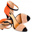 Beige orange and black woman high heel shoe - Stock Photo