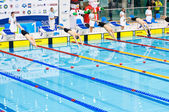 Swimmers starting to the competition — Stock Photo