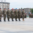 Soldiers during the drill on the square before Polish Army Day — Stock Photo