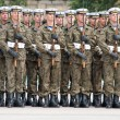Stock Photo: Soldiers during the drill on the square before Polish Army Day