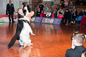 Competitors dancing slow waltz at the dancing conquest — Stock Photo