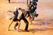 Competitors dancing latin dances at the dancing conquest — Stock Photo