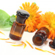 Marigold tincture with fresh petals — Stock Photo