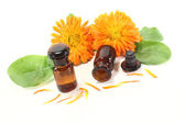 Marigold tincture with petals — Stock Photo