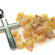 Yellow incense with cross — Stock Photo
