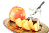 Apple with Honey jar — Stock Photo