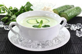 Iced cucumber soup with yogurt — Stock Photo
