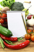 Shopping list with pencil and basket — Stock Photo