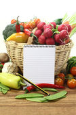 Purchasing paper with a basket and vegetables — Stock Photo