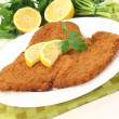 Stock Photo: Freshly fried Wiener Schnitzel