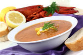 Lobster cream soup — Stock Photo
