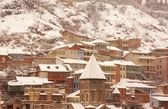 Winter view to covered with snow Tbilisi Old town in misty day — Stock Photo