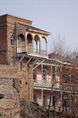 Traditional carving balconies of Tbilisi, Kalaubani area — Stock Photo