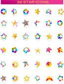 Colección de iconos de estrellas, vector — Vector de stock
