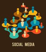 Ilustração de meios de comunicação e rede social — Vetorial Stock