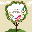 Greeting card with bird and tree — Imagens vectoriais em stock