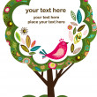 Greeting card with bird and tree — Vector de stock