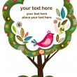Greeting card with bird and tree — Imagen vectorial