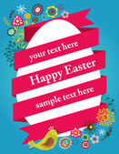 Easter greeting card with egg and ribbon — Stock Vector
