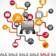 Internet shopping with set of icons - 