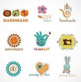Ambachtelijke en doe het zelf, collectie iconen — Stockvector