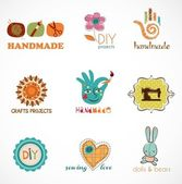 Artesanía y hágalo usted mismo, colección de iconos — Vector de stock
