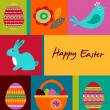 Easter greeting card with bunny - Stock Photo