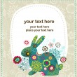 Easter greeting card with bunny — Imagen vectorial