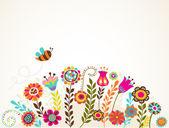 Tarjeta de felicitación con flores — Vector de stock