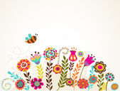 Wenskaart met bloemen — Stockvector