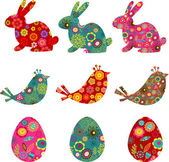Patterned bunnies, birds and eggs — Stock Vector