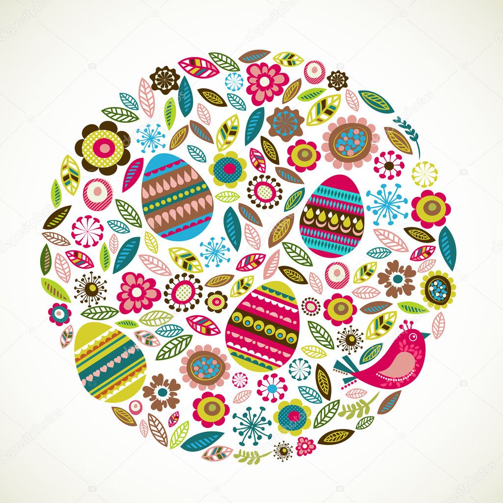 Easter greeting card with flowers and eggs, vector illustration — Stock Vector #9064008