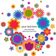 Easter greeting card - wreath with floweres — Stock Vector #9446305