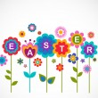 Easter greeting card with flowers — Stock Vector #9446358