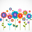 Stock Vector: Easter greeting card with flowers