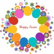 Easter greeting card with egg and flowered pattern — Stock Vector