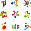 Social Media and network icons, vector set — Stockvectorbeeld