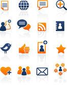 Los medios sociales y los iconos de red, conjunto de vectores — Vector de stock