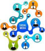 Social media en netwerk illustratie — Stockvector