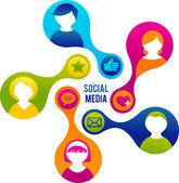 Ilustración de los medios de comunicación y red social — Vector de stock