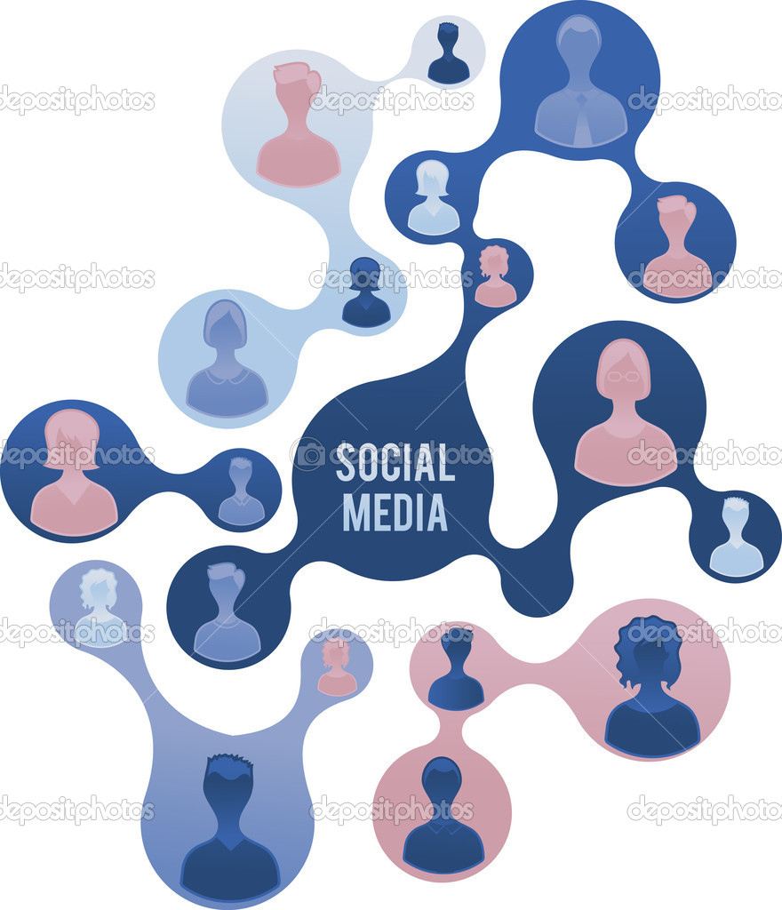 Social Media and network illustration, vector — Stock Vector #9543304