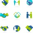 Collection of handshake icons and elements - Stockvektor