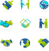 Collection of handshake icons and elements — Vector de stock