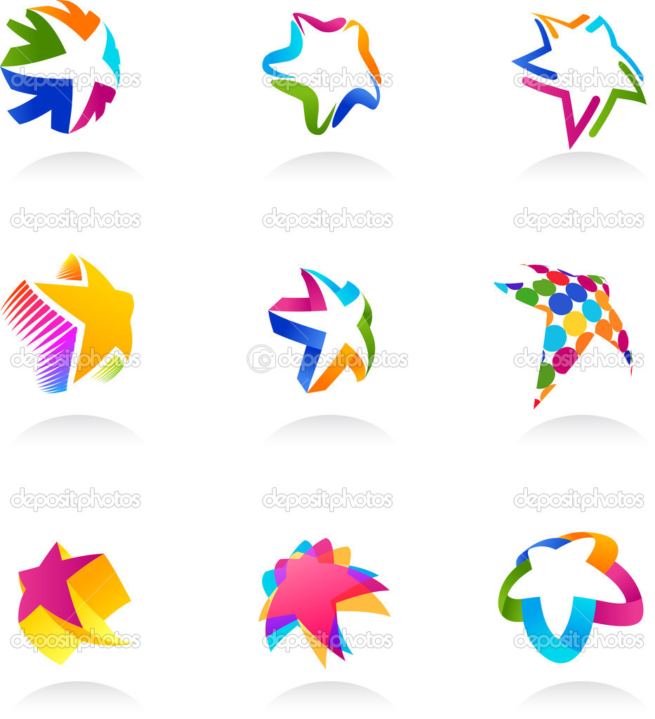 Set of abstract, colorful star icons, vector — Stock Vector #9933011