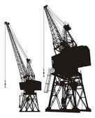 Dockyard cranes — Stock Vector